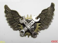 Steampunk brooch badge pin owl wings silver spanners mechanic Harry Potter