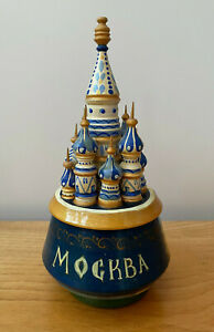 Vintage Russian Moscow Music Box - Good Working Order - Kremlin - St Basil's