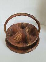"""Folding Hearts Basket And Carved Vintage Collapsible Wooden Basket 11 1/2"""""""