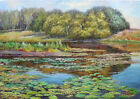 """T0922 video Oil painting Canvas Hardboard Landscape Water Realism One 9""""x13"""""""