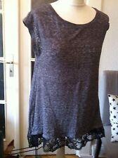 Review Tunika Shirt grau Spitze schwarz Gr. S