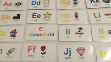Spanish Alphabet Flash Cards. 29 colored cards. Preschool Foreign Language.