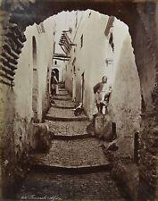 c1880 2x Large Format Albumen Photograph Algiers Rue Arabe Moorish Women Costume