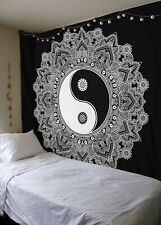 New Small Tapestry Wall Hanging Black & White Ying Yang Bedspread Tapestries Art