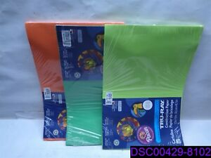 """Qty = 3 Packs of 50 Sheets: Pacon Paper 12"""" x 18"""" Lime, Orange, Festive Green"""