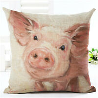 Pig Animal Cotton Linen Pillow Case Cushion Covers Throw Waist Sofa Home Decor