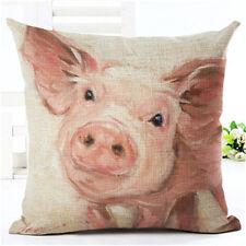 Animal Pig Cotton Linen Pillow Case Cushion Covers Throw Waist Sofa Decor