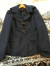 New Look Duffel Coat, Blue With Chocolate Trim, Size 8