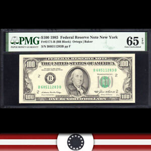 GEM 1985 $100 NEW YORK FRN BILL PMG 65 EPQ Fr 2171-B  B68511283B
