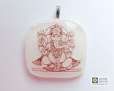 Ganesh pendant, white fused glass, symbol of success, ganesha charm jewellery