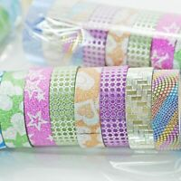 10Pcs DIY Adhesive Sticker Paper Sticky Decorative Washi Tape School Stationery