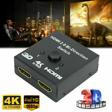 1 IN 2 OUT 1 INPUT 2 OUTPUT 2160p HDMI SPLITTER 2 WAY SWITCH BOX HUB 4K UHD 3D