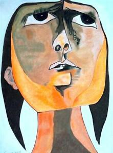 OSWALDO GUAYASAMIN / Original Colored Graphite Drawing on Paper, Art Signed.