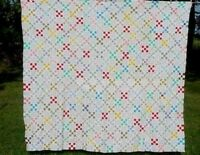 COLORFUL HAND PIECED PATCHWORK CHAIN QUILT TOP