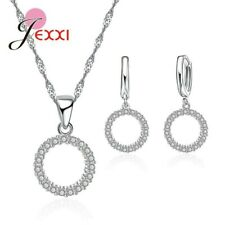 925 Sterling Silver Round Circle CZ Crystal Pendant Necklace and Earring Set UK