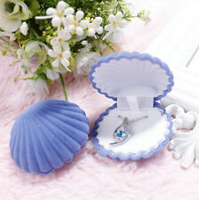 Blue Small Shell Shape Velvet Display Gift Box Lady Jewelry Necklace Case