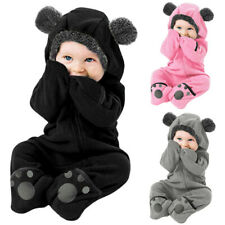 Infant Baby Kid Girl Boy Solid Cartoon Ear Hoodie Romper Clothes Fleece Jumpsuit