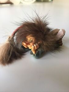 """Vtg Rare 3""""-5"""" NyForm Laying Resin Cute Troll Norway With Real Fur Tail and Hair"""