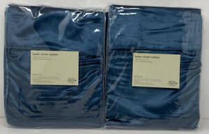 West Elm Luster Velvet Drape Curtain (2) ~ 48 x 96 ~ Regal Blue