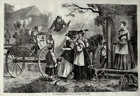 Peddler and his Wagon Cart selling goods to American farming women 1868 Print