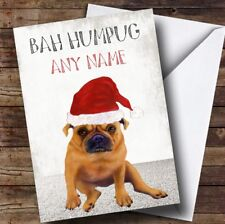 Funny Bah Hum Pug Personalised Christmas Card