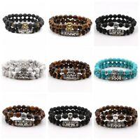 2 Pcs Natural Lava Stone Buddha Lion's Leopard Skull Beads Charm Men's Bracelets
