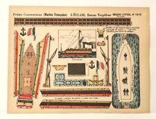 Pellerin Imagerie D'Epinal#1210 L'Eclair Bateau Torpilleur Petite paper model