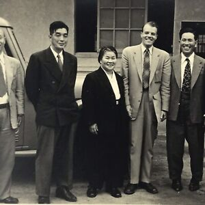 Vintage Black and White Photo Asian Men Suits Ties Businessmen Standing Smiling