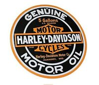 HARLEY DAVIDSON OIL ROUND TIN SIGN RUSTIC METAL GAS STATION WALL ART MOBIL GLOBE