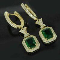 Details about  /4Ct Emerald Cut Green Emerald Diamond Drop//Dangle Earrings 14K White Gold Finish