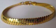 bracelet bijou vintage maille plate finement gravée relief couleur or 531