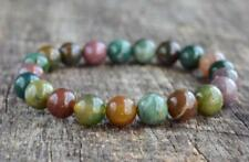 Natural 6mm Gorgeous Indian Agate Healing Crystal Stretch mala Bracelet Unisex