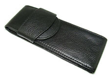 Fountain Pen , Real Leather Pouch Top Washed Cowhide Pen Case , Black Color