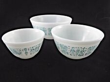 Pyrex nesting mixing bowls lot 3 Butter Print aka Amish Turquoise Blue white