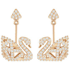 Swarovski 5358058 Facet Swan Pierced Earrings, White, Rose gold plated RRP$149