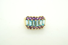 Womens 10K Yellow Gold Blue Topaz and Amethyst Ring #22487