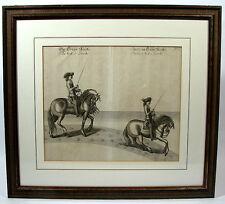 Kupferstich 1700 Newcastle Im Trapp Rechts Parade im Trapp Rechts Pferd Dressur