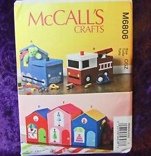 McCall's Crafts M6806 Make Toy Storage Boxes House Train Fire Engine Pattern New