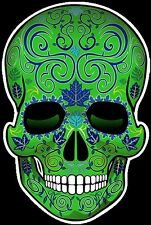 "SUGAR SKULL DECAL STICKERS Day of Dead Dia de los Muertos 4"" tall GREEN set of 2"