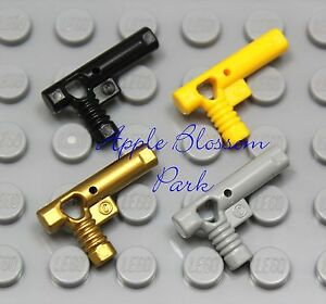 NEW Lego Set/4 Police Agent HAND GUNS -Gold Yellow Black Gray Minifig Weapon Lot
