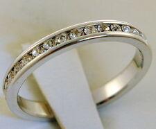 1 carat 2.5 mm eternity band 18K white gold overlay ring size 8