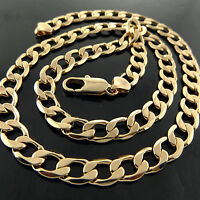 Necklace Chain Genuine 18k Yellow G/F Gold Solid Men's Heavy Curb Link Design