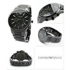 NEW EMPORIO ARMANI AR1451 BLACK DIAL CERAMIC MEN'S CHRONOGRAPH WATCH UK