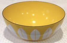 """Vtg CatherineHolm 8"""" Mustard Yellow White Lotus Mid Century Modern Enamel Bowl"""