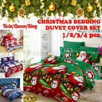 Christmas Ultra Soft Quilt Duvet Cover Set Single Double Queen King Bedding Gift