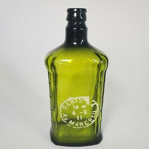 "Green / Dark Olive Glass Bottle Arudin 9.5"" PARIS design"