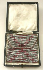 Art Deco Metal Beaded Chainmail Coin Purse In Old Box