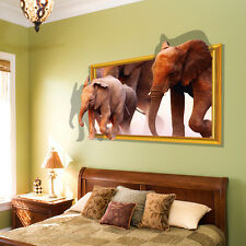 3D Elephant Animal Removable Art Vinyl Wall Stickers Decal Mural Home Decor DIY