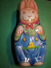 Vintage MINIATURE TIN BOX w/ Lid - Bunny Rabbit 5.75 inches high