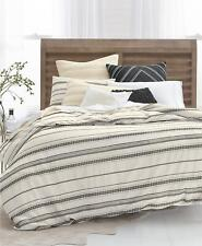 Lucky Brand Stripe Embroidery 3 Pc Full/Queen Duvet Cover Set Ivory $320